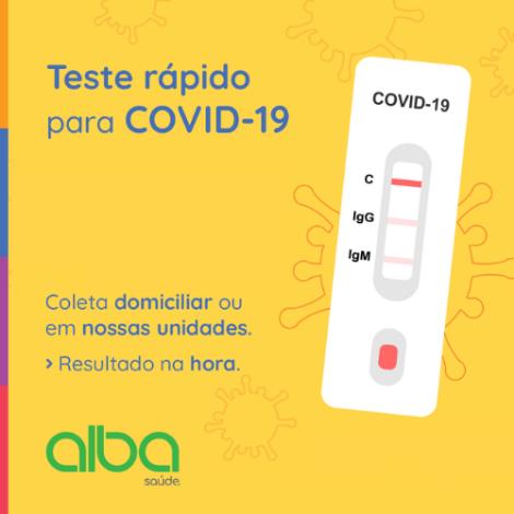 Alba Saúde | Teste rápido IgM e IgG laboratorial ou domiciliar para COVID-19