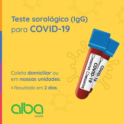 Alba Saúde |Sorologia IgG laboratorial ou domiciliar para COVID-19