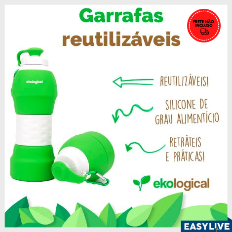 Ekological | Garrafa de Silicone Retrátil 580ml