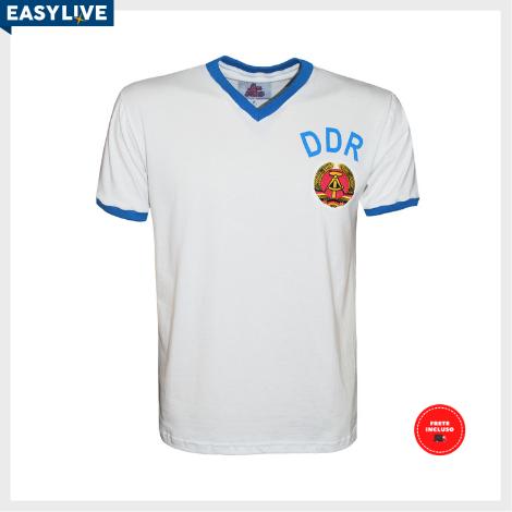 Liga Retrô | Camisa DDR Alemanha Oriental 1974 Branca