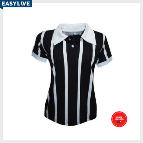 Liga Retrô | Camisa Feminina Polo Botão Listrado