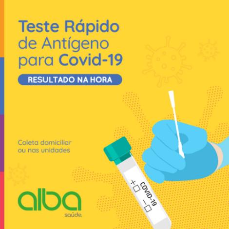 Alba Saúde | Teste Rápido de antígeno laboratorial ou domiciliar para COVID-19