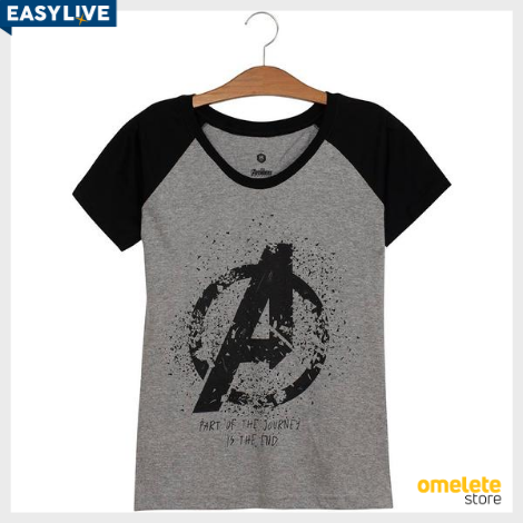 Camiseta Logo Avengers Raglan Feminina