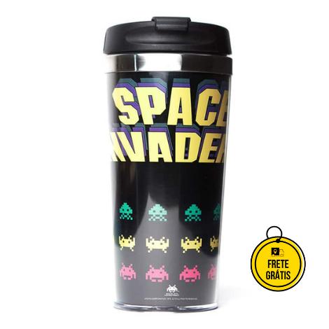Nerdstore | Copo Térmico Space Invaders Preto